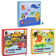 Paper Puzzle Educational Developmental Baby Kids Training Toy animals/traffic puzzle educational Toys For Children Jouet Enfant(China)