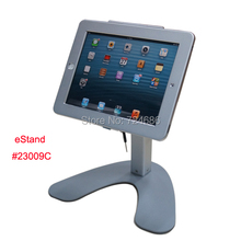 "for ipad 2/3/4/air/pro 9.7"" desktop secure lock stand with metal frame brace display kiosk POS table security holder on hotel"