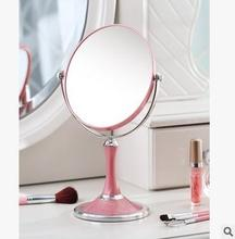 Desktop makeup mirror Europe type double toilet glass mirror portable marry the princess three times the hd zoom lens white pink