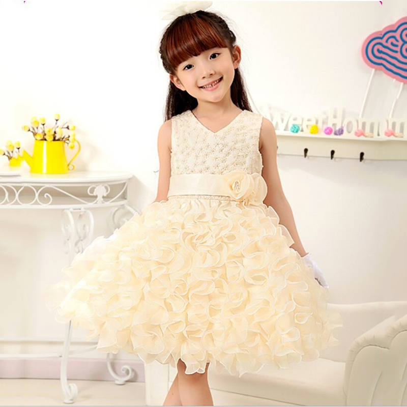 V-neck beading ball gown princess dress for wedding party costume baby girl dress organza lotus leaf flower girl dresses<br>