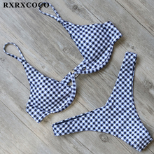 Buy RXRXCOCO 2018 New Halter Swimwear Women Plaid Bikini Set Sexy Solid Beach Bandage Swimsuit Push Thong Bikini Bathing Suits