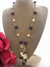 Pearl&Purple Crystal Necklace