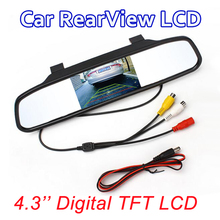 "Car Monitor 4.3"" Screen For Car Rear View Reverse Camera TFT LCD Rear view Mirror Display 4.3 Inch Color HD"