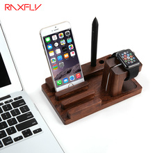RAXFLY Wooden Multifunction Charging Phone Holder Retro Simple Charging Dock Cradle Stand Holder For Phone For Tablet For Watch