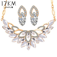 17KM Wedding Gold Color 3 Color Crystal Flower Necklace Jewelry Sets Party Women African Beads Bridal Earrings Accessories