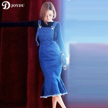 JOYDU 2017 Spring Summer Denim Dress Blue Jean Casual Women Mermaid Strap Long Dress High Waist Chic vestidos mujer robe femme