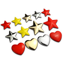 2.6cm DIY Star & Heart Metal Zinc Alloy Car Styling Refitting Emblem Badge 3D Sticker Exterior Decoration for Car/Phone/PC ect.