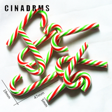 10PCS 47mmX19mm Christmas Stripe Fimo Clay Cane Candy,Christams Party Embellishments,Christmas Decoration Miniatures
