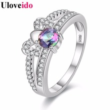 Hot Products Butterfly Tie Unique Punk Rings for Women Anniversary Rings Bague Femme Double Christmas Gifts Uloveido Y2694