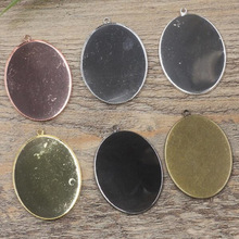 10pcs/lot 30X40mm 6Colors Copper Oval Blank Cameo Charms Pendant DIY Jewelry Acessories Finding(China)