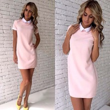 Summer Women Office Shirt Straight Dress Girl Short Sleeve white Patchwork Turn-Down Collar Party Pink Gray Mini dress Vestidos