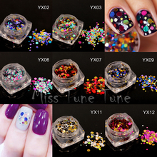 1 Box 1mm2mm3mm Mixed Colorful Nail Glitter Sequins Decals Round Shiny Metal Color Nail Sparkle Flakes 3D Nail Art Decorations