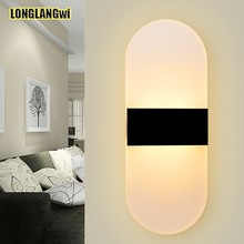 6W Modern Bedroom Acrylic LED Wall Lamps Applique Bathroom Sconces Home Lighting Led Strip Wall Light AC90-260V Free shipping