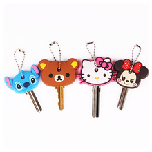 Anime Silicone Key Cap Cat Minion Key Chain Women Bag Charm Key Holder Mickey Key Ring Owl Keychain Hello Kitty Stitch Key Cover