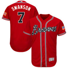 MLB Men's Atlanta Braves Dansby Swanson Alternate Scarlet Home White Authentic Collection Flex Base Player Jersey