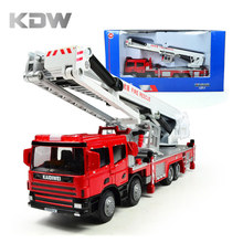KDW Diecast Fire Trucks Platform Fire Engine Ladder Model Alloy Car Refined Metal Fire Truck Vehicles Toys Decoration Classic(China)