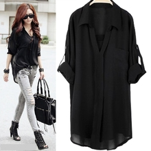 Buy Fashion Women Long Blouses Blusa Woman Casual Chiffon Loose Long Sleeves Shirts Female Blouse Tops 4XL Women Clothing Big Size for $14.99 in AliExpress store