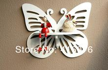 Free Shipping! Butterfly Shape MDF Storage Rack Wall Shelf Rural Style Home Decoration Creative Gift White Color W1038(China)