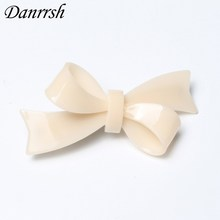 Fashion Women Hair Accessories Wholesale Cream Acrylic Bow Hair Barrettes All Match Hairpins Designer Girl'S Trendy Hairggrips