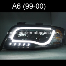 For Audi A6 LED Strip head lamp 1997 - 2001 year Black Housing SN(China)