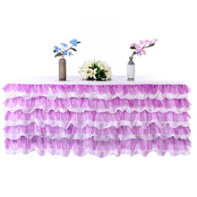 275*80cm Tulle Table Skirt Wedding Table Skirt Birthday Party Table Skirt Tablecloth Event Holiday Decor Home Textile 6 Colors(China)