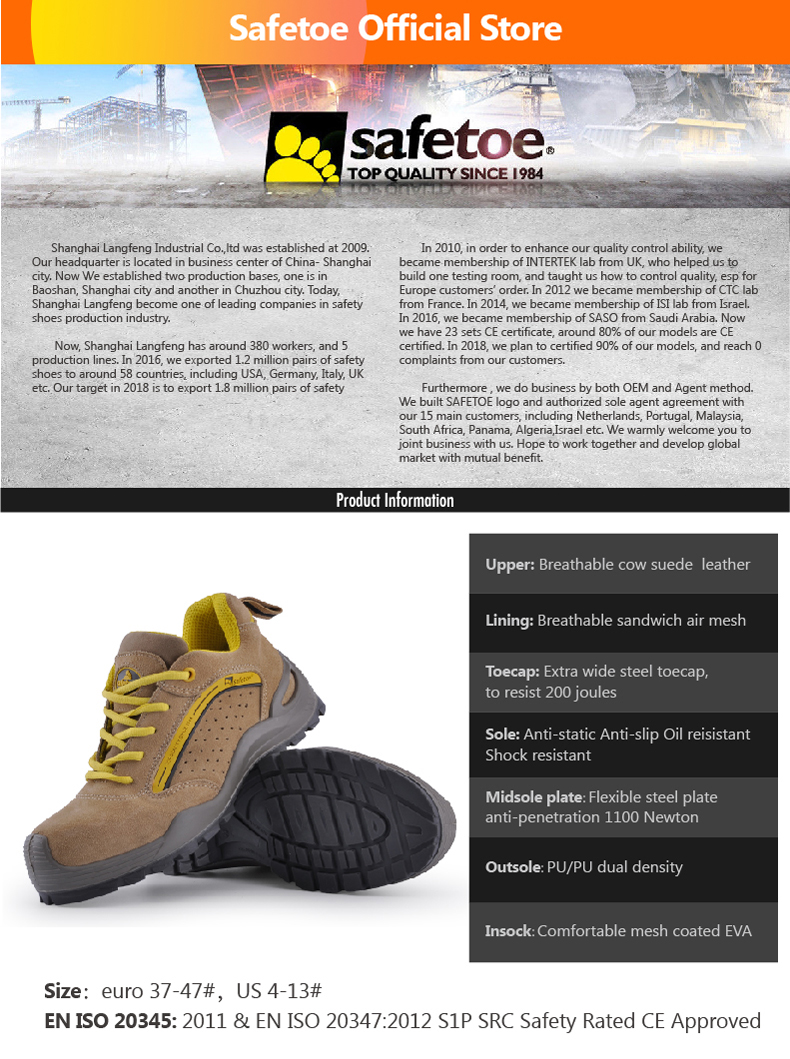 Safetoe Safety Shoes Mens Work Boots Safety Shoes Steel Toe Work Boots Fashion Leather Shoes Working Safety Boots Size US 4-13 1