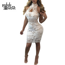 Buy Pndodo Elegant Sexy Womens Party Night Club Halter Neck Sleeveless Sheath Bodycon Lace Dress Wedding Backless Short Mini Dress