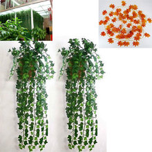 Artificial Vine Red Autumn Ivy Maple Leaf Fake Garland Plants Foliage Garden For Wedding Party Home Decoration
