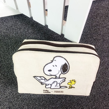 Kawaii Snoopie Cartoon Dogs Cotton Cosmetic Bag Double Layer Zipper Pen Bag Women Mini Handbags 17*10*7.5CM Kids Christmas Gift