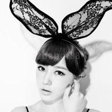 Black Lace Rabbit Bunny Ears Headband Halloween Costume Party Sexy Head Band