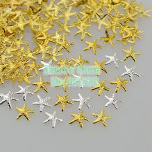 Wholesale 100PCS/Lot 3D 5X5MM Cute Starfish Shape Alloy Nail Art Metal Decorations Cell Phone Gems Sequisn Tips Free Shipping