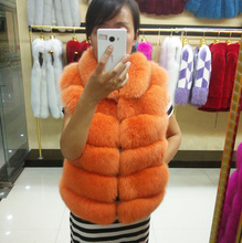 Female luxury 100% genuine fox fur vest with small stand collar women's slim orange color fur vest short gilet plus size