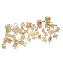 1SET=34PCS , Wooden Doll House Dollhouse Furnitures Jigsaw Puzzle Scale Miniature Models DIY Accessories Set