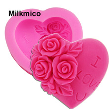 Milkmico M024 DIY 3D chocolate fondant mold Cake hand molding LOVE Rose Flower silicone mold I LOVE u Cake Tools(China)