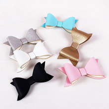 Hot New Magazine Design PU Soft Leather Big Bow Haipins Side Clips Barrettes Kids Children Girls Hair Accessories(China)