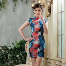 Factory direct sales gradient color graffiti dress bright summer dress 2016 womens sexy dresses party night club dress(China)