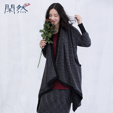 Xian Ran 2016 Knitted Cardigan Navy Blue and Black Color Autumn Women Coat High Quality Free Shipping