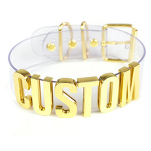Handmade Choker Customized Custom Cosplay Choose Letter Name Word Collar Clear PVC Gold 35mm Tall Alpabet Necklace