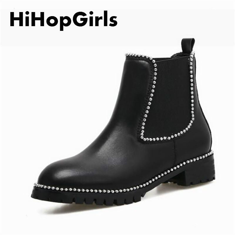 HiHopGirls 2017 New Hot women Boots Winter Square High heels shoes Round toe Rivet Motorcycle boots woman #45674456<br>