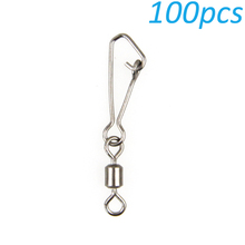 100pcs Fishing Swivels Snap Rolling Swivel Stainless Steel Swivel Fishing Tackle Accessories Connector 1#-5# Free Shipping(China)