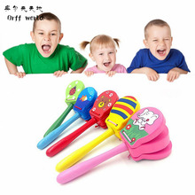 Orff world Cartoon Castanets Lovely Kid Wooden Castanet Clapper Handle Musical Instrument Toy Preschool Early Educational Toys(China)