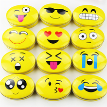 New Creative Tin Tea Box Cute Baby Face Iron Mac Makeup Lipstick Organizer 12Piece Yellow Metal Case Oval Container Household