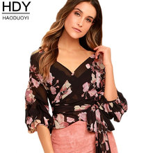 Haoduoyi 2017 Floral Print Women Wrap Chiffon Blouses Shirt Tie Waist Peplum Crop Tops Lantern Sleeves Shirts Ladies Tops