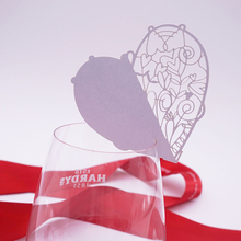 2017 new 50pcs  Love Heart Place Name Card Wine Glass Card Laser Cut Paper Cup Card Table Mark Wedding Party Decoration