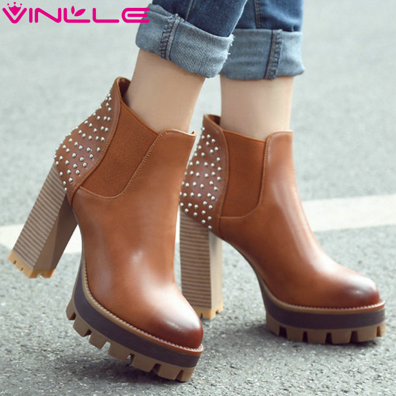 VINLLE 2016 Women British Style PU Boots Rivets Square High Heel Ankle Boots Round Ladies Platform Motorcycle Boots Size 34-42<br>