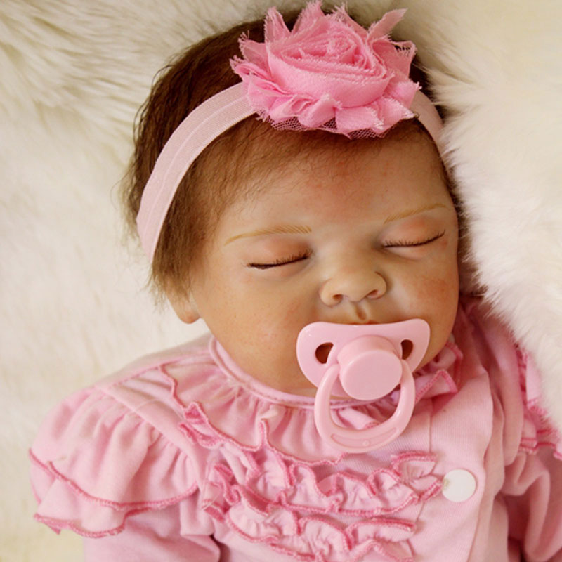 55cm Silicone Baby Doll Toys 22inch Silicone Reborn Dolls Newborn Lifelike Pink Cloth Baby Toys Brinquedos For New Years Toys<br><br>Aliexpress