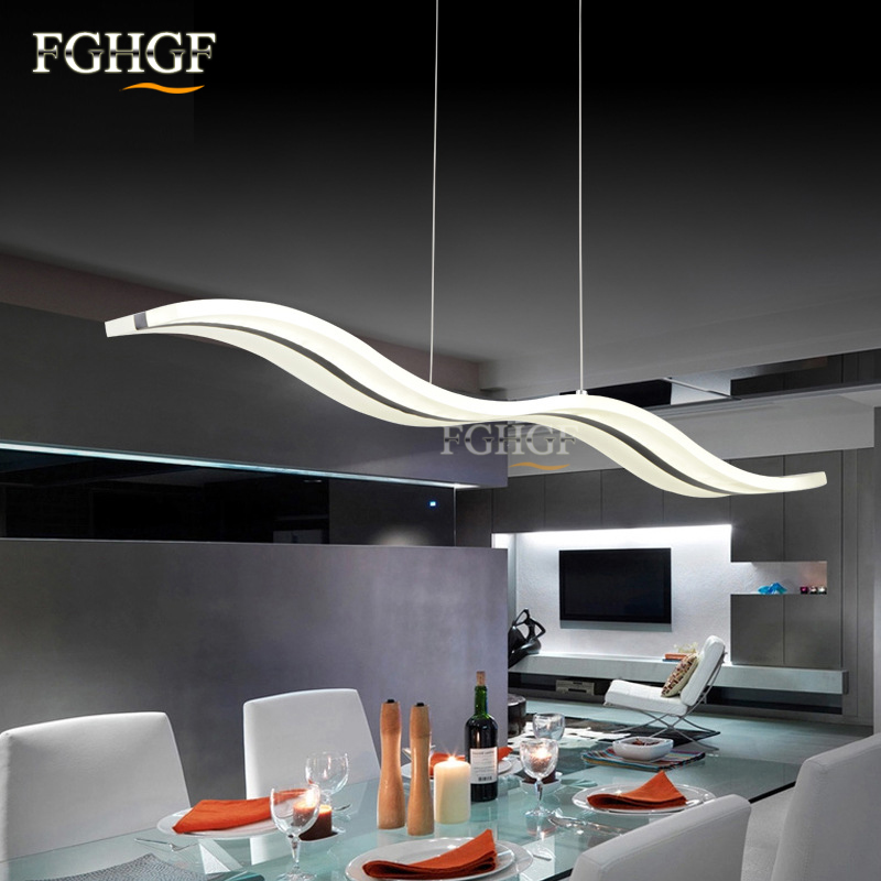 Hanging Modern Led Chandelier Lights For Dining Room Bar suspension Wave luminaire Lustres Chandeliers Lamp Lighting Fixtures (2)