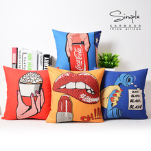 American Pop Art Style Cushion Cover Lipstick Telephone Pop-top Can Pillow Covers Decorative Sofa Chair Linen Pillow Case(China)