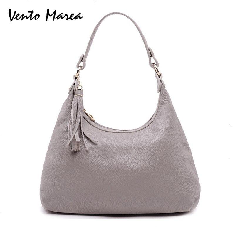 Ladies Genuine Leather Handbag Tassel Bag Hobos New Fashion Women Bag 2018 Shoulder Bag Package Soft Totes Bag For Women<br>