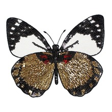 High Quality Embroidery Butterfly Sew On Patch Badge Embroidered Fabric Applique DIY Fashion Sequins Glasses Patches Trims